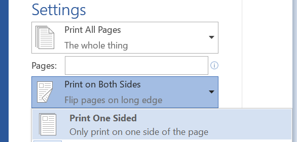 Under Print settings, choose Print One Sided.