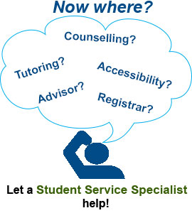 Now where? Counselling? Tutoring? Advisor? Accessibility? Registrar? Let a Student Service Specialist help!