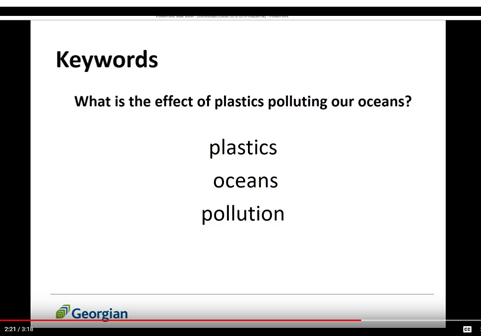 "Keywords of ""what is the effect of plastics polluting our oceans?"" plastics, oceans, pollution."
