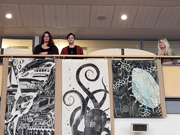 Students with their wooden prints.