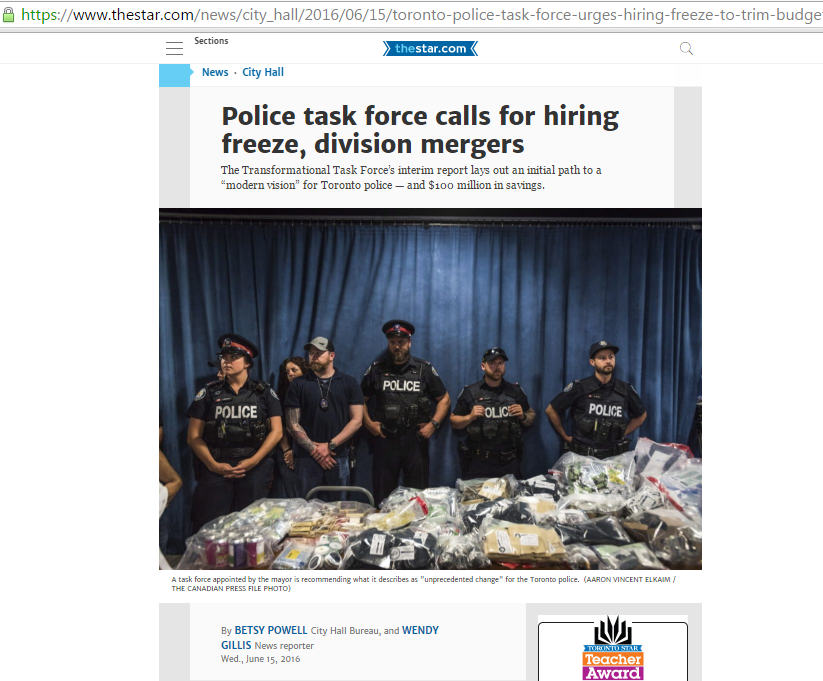 A screenshot of a Toronto Star news article on the newspaper's website
