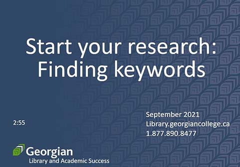 Start your research: finding keywords