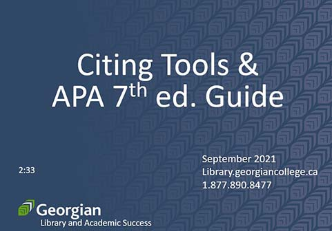 Citing Tools & APA 7th edition guide