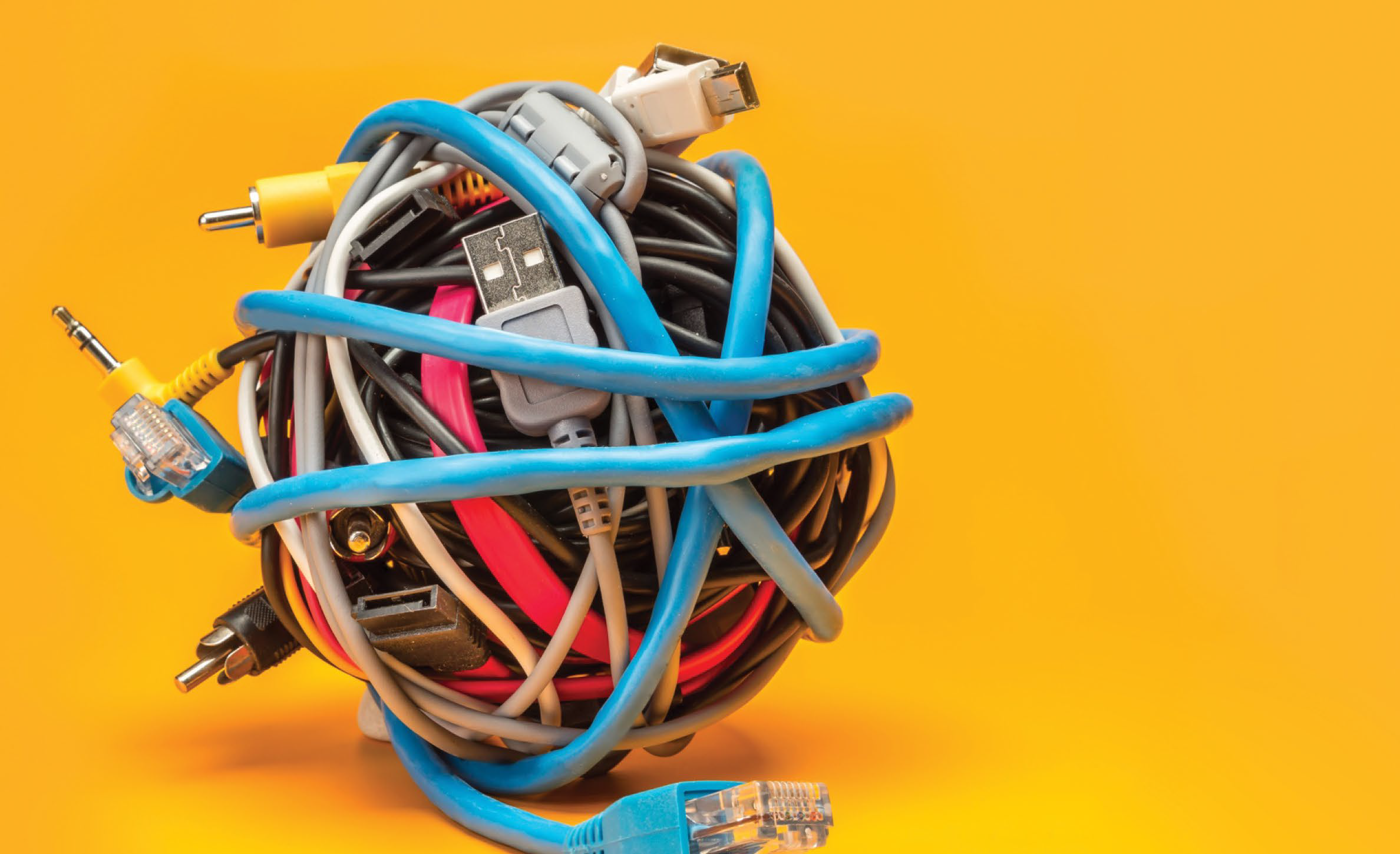 tangled ball of computer cables