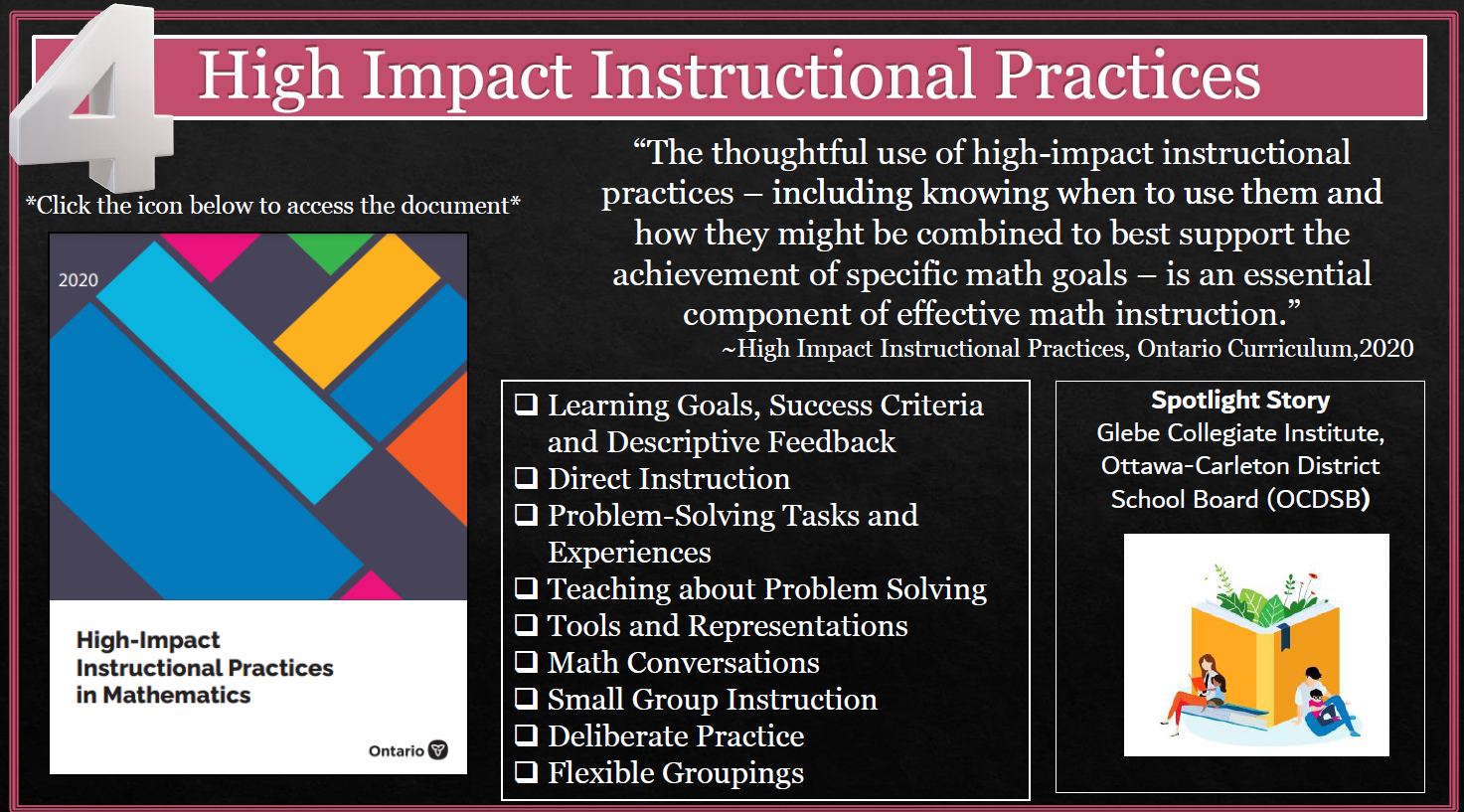 High Impact Instructional Practices in Math