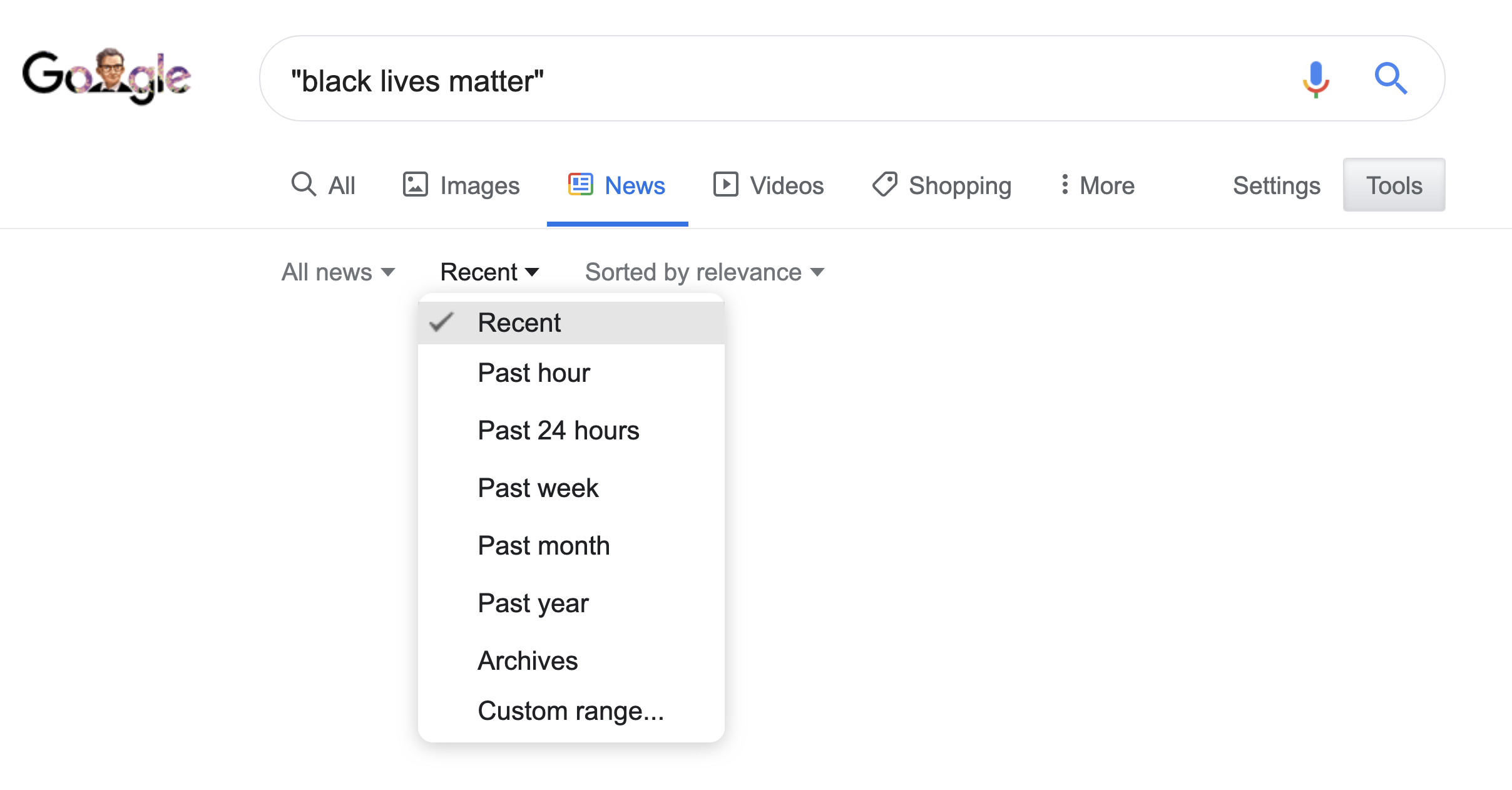 "google search for ""black lives matter"" showing the options below the search bar"