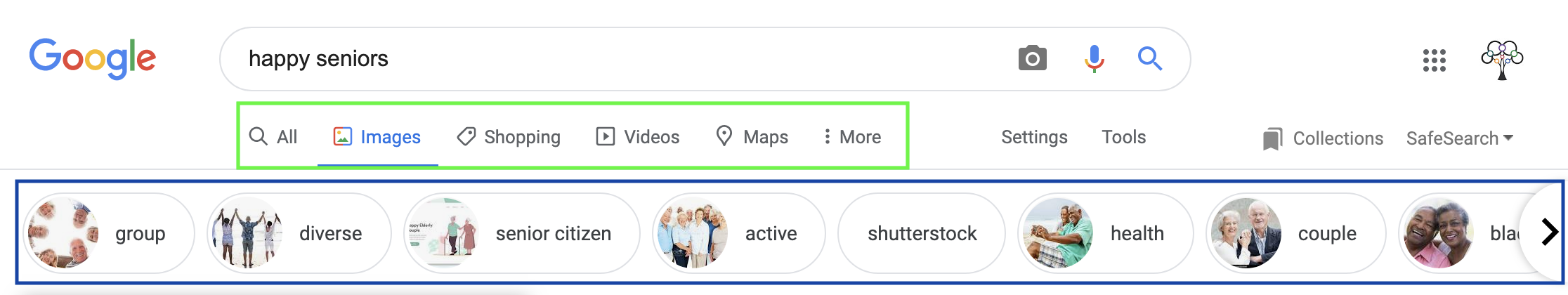 The image search result tools in Google search. The image tool menu includes options to specify the size, color, usage rights or type to change your results. A list of suggested keywords to add to the search appear below the tool menu.