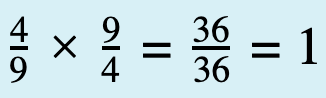4 over 9 times 9 over 4 equals 36 over 36 that is equal 1