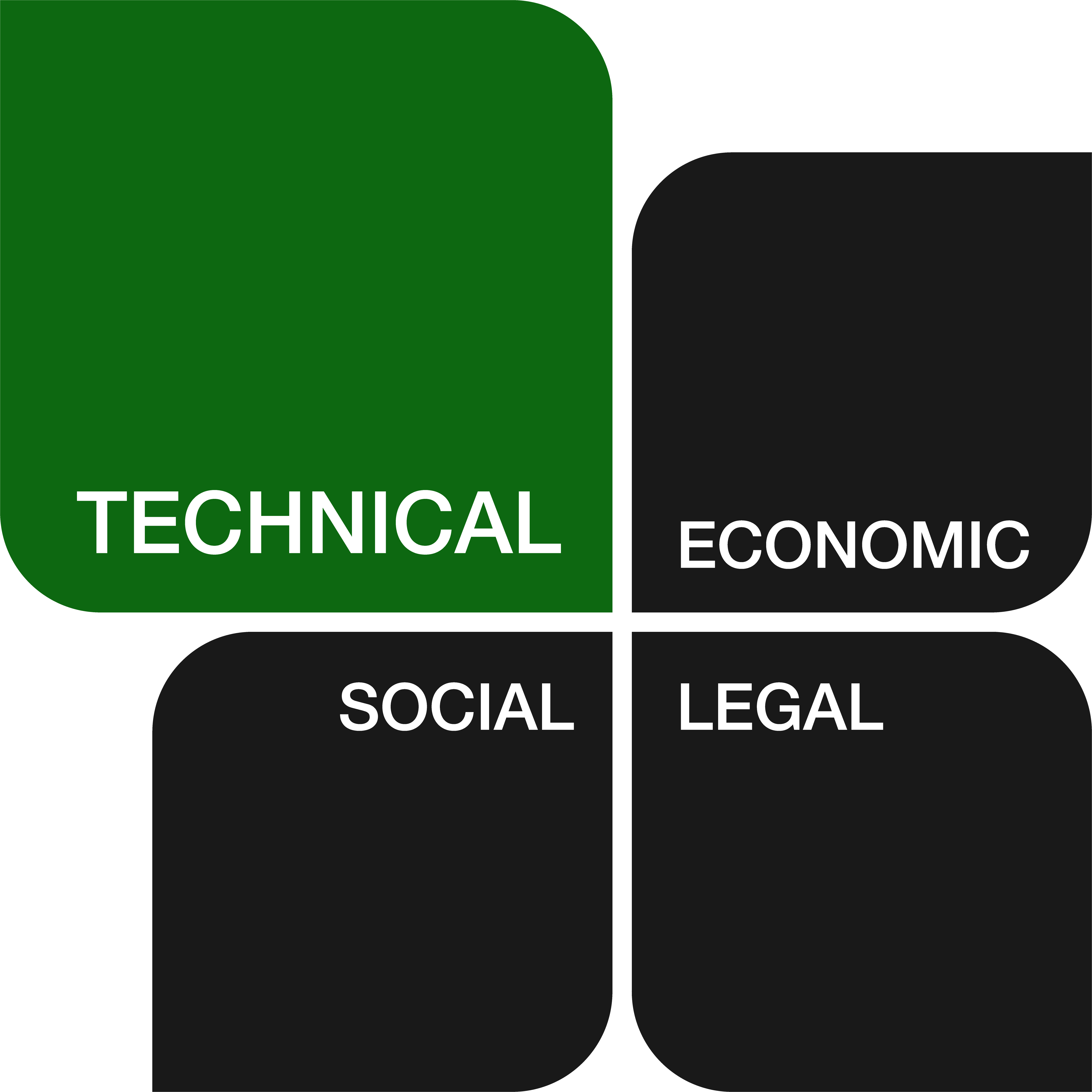 Technical, Economic, Social and Legal icon, technical highlighted