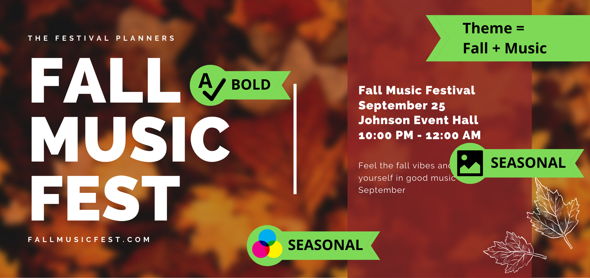 example poster indicating how the theme of music and fall was used