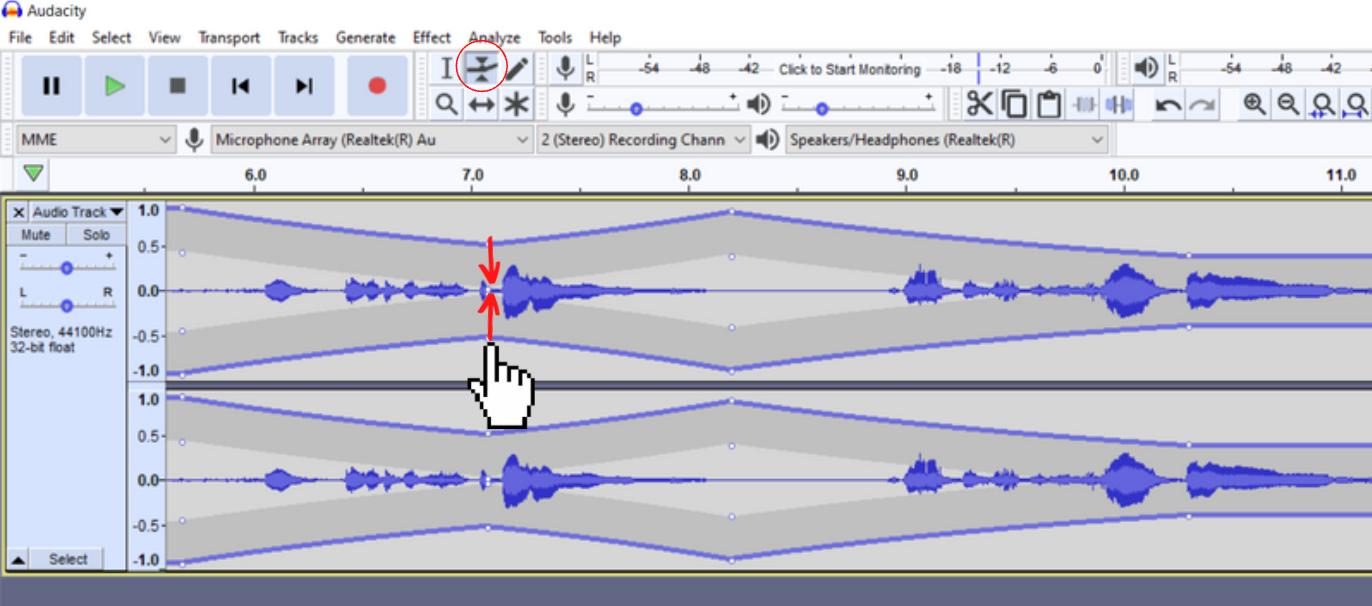 envelope tool selected in toolbar