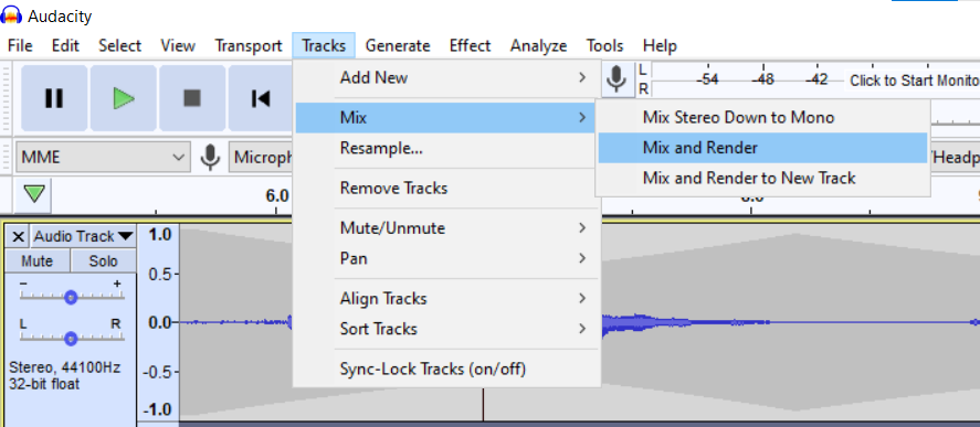 mix and render selected from tracks menu