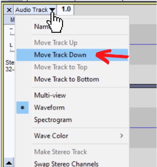 Move track options un audio track dropdown menu
