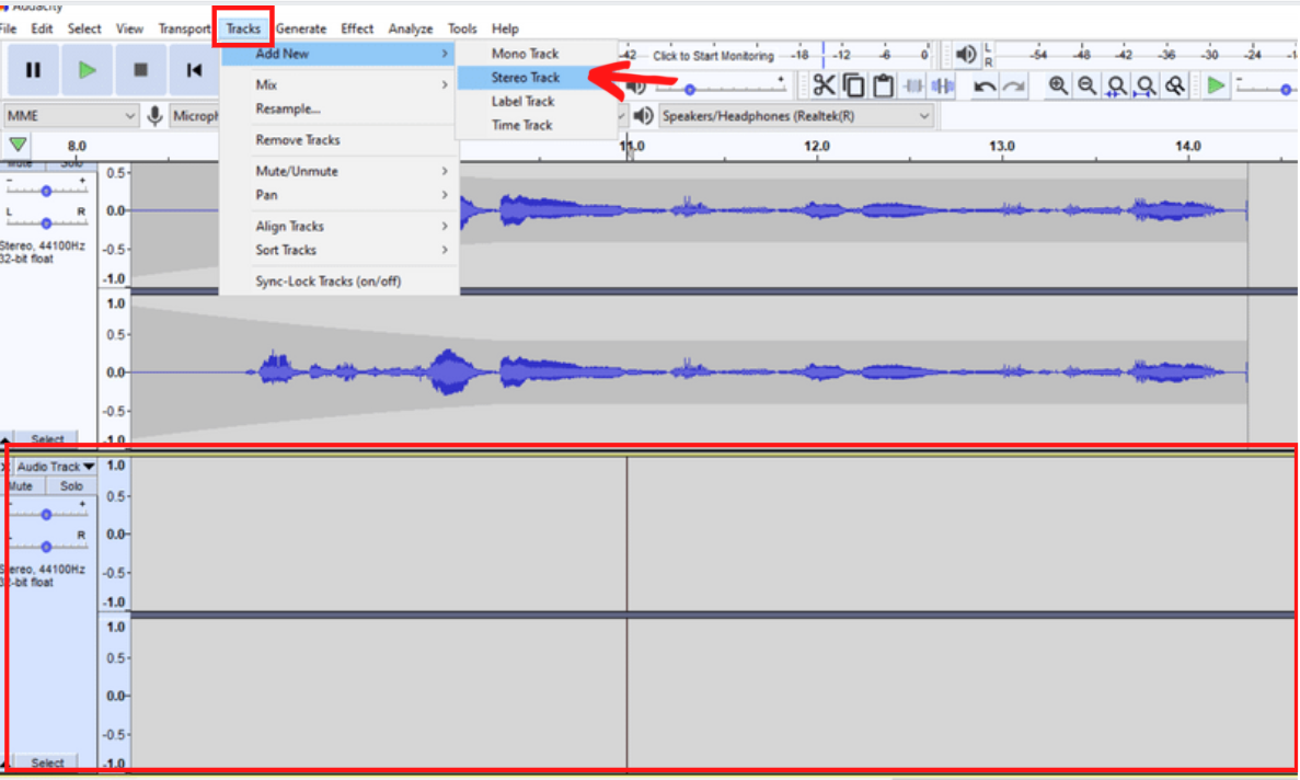 New track at bottom of audio file