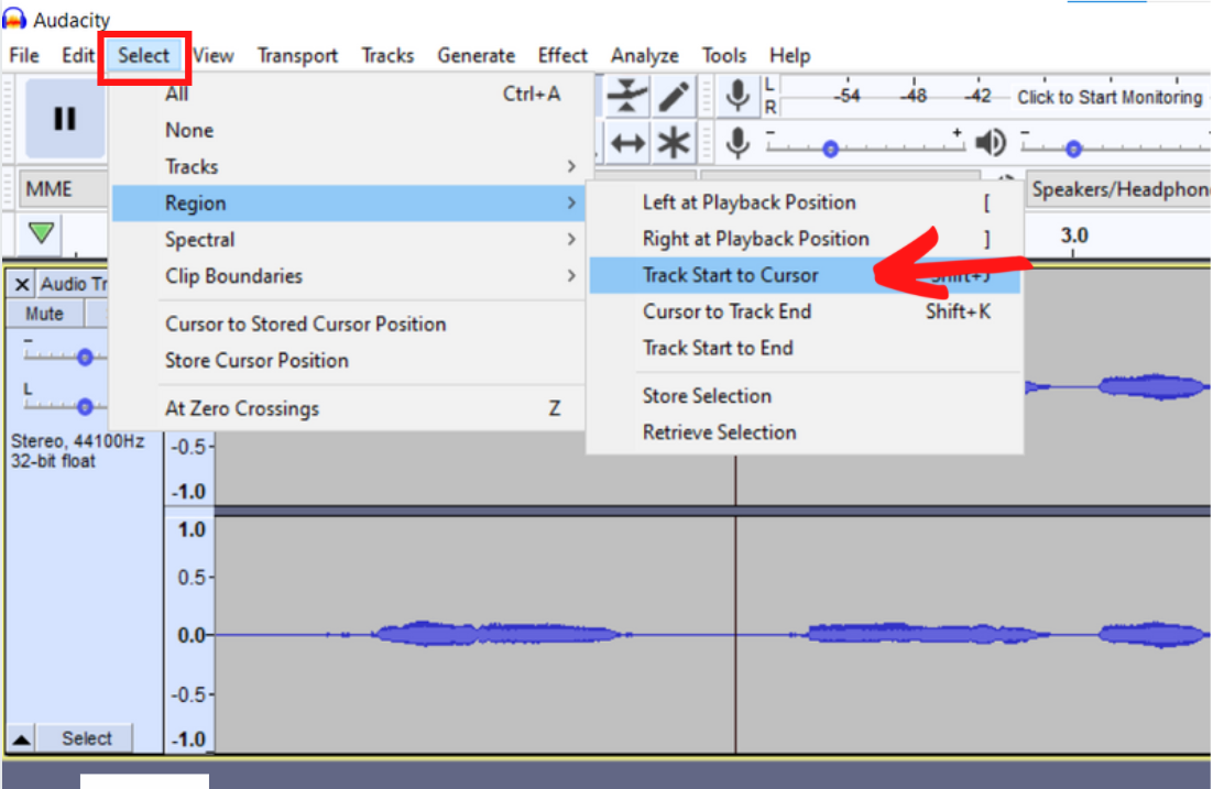 track start to cursor selected in drop down meu