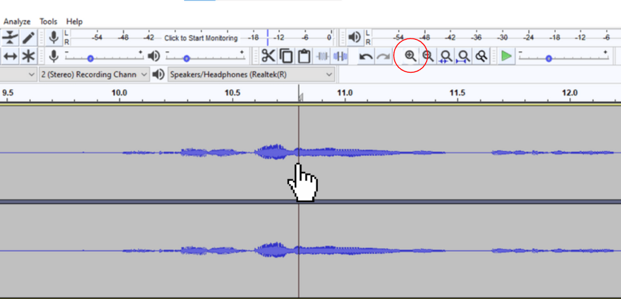 Zoomed into waveform