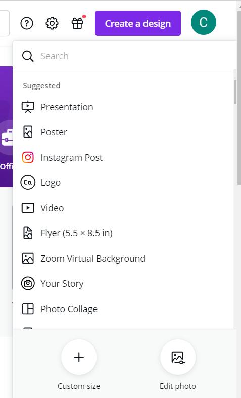 Drop-down list of design options