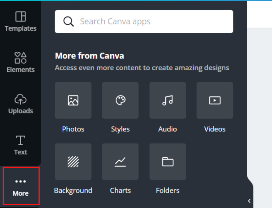 Box around 'more' in the left navigation menu
