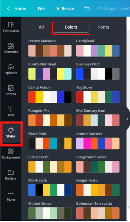 Styles option selected from the left navigation menu showing a variety of colour schemes