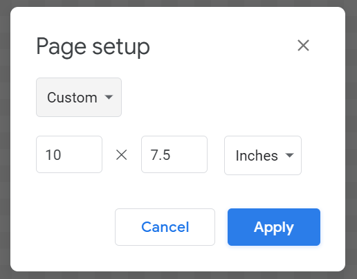 set your page setup dimensions