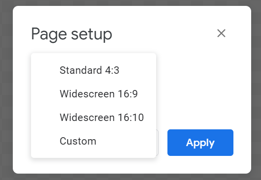 page set up options