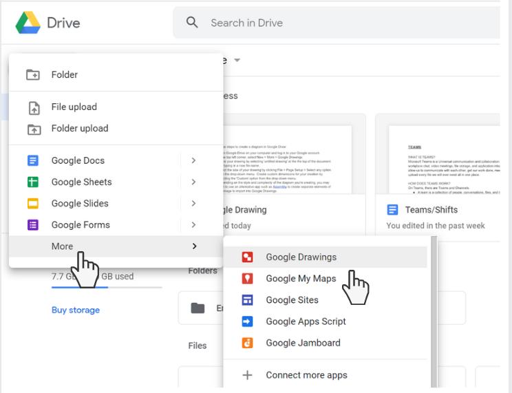 select google drawings from the more menu