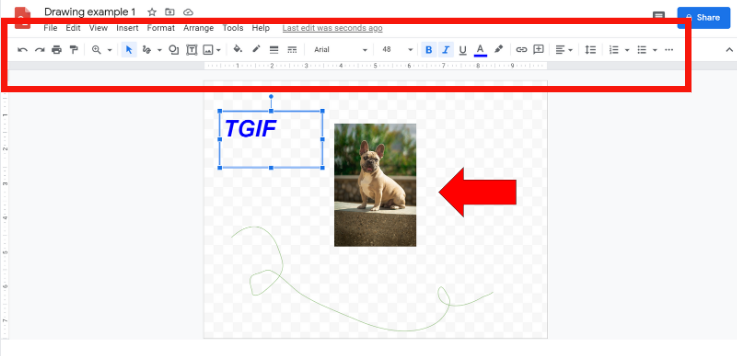 toolbar options in google drawings