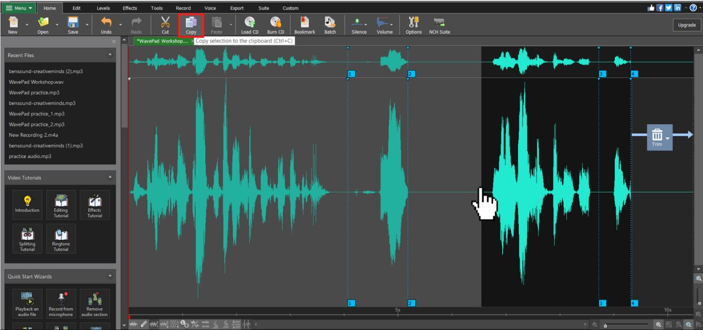 Copy voiceover audio