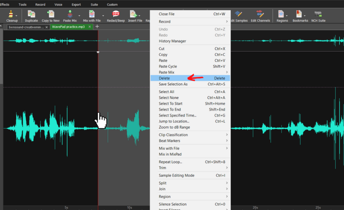 portion of audio selected with the menu open showing the delete option