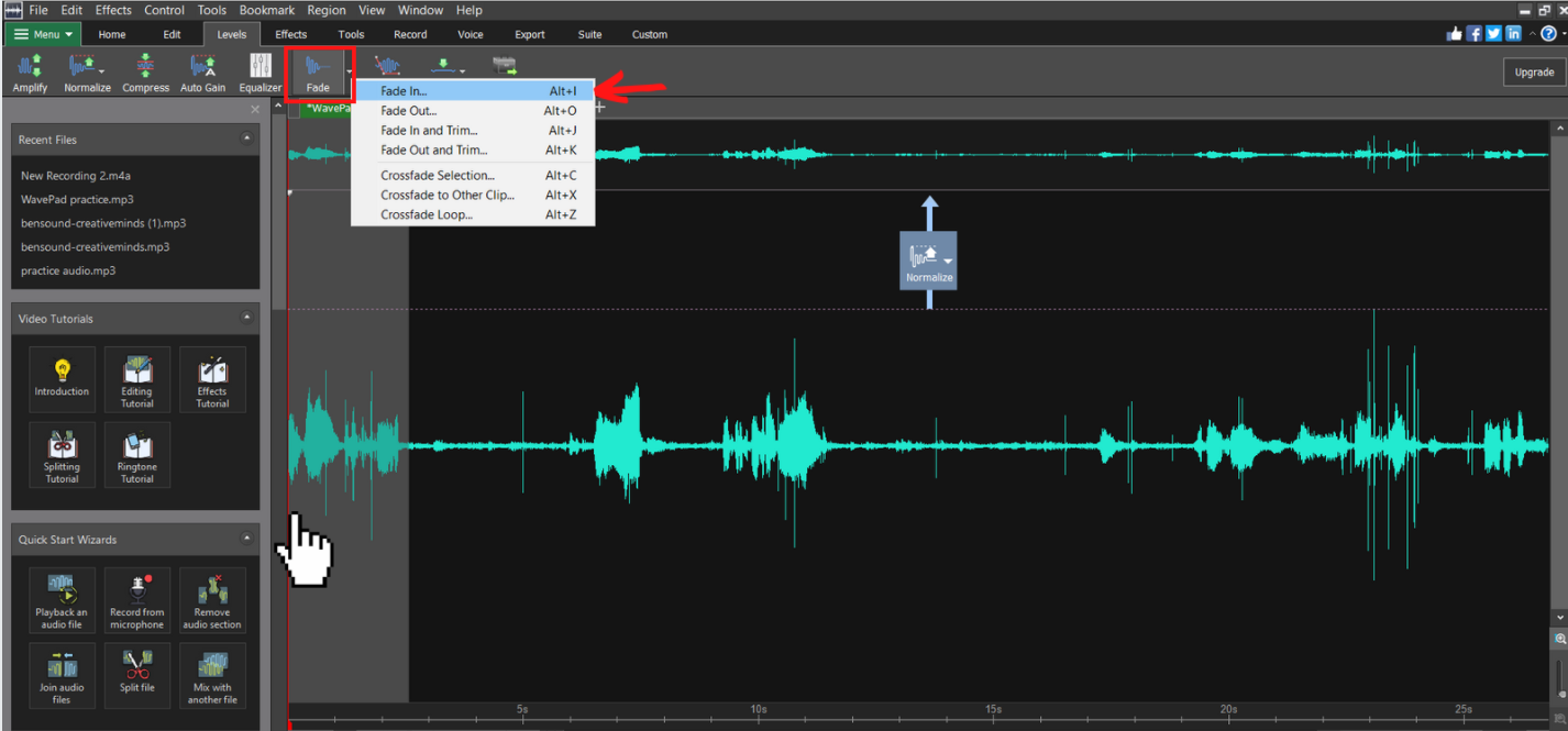 highlighted section of beginning audio with mouse on fade in button