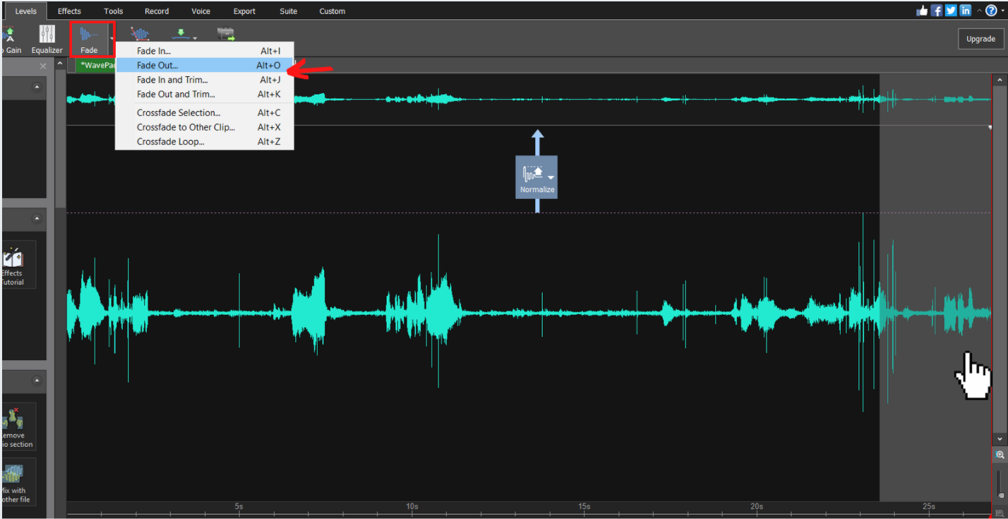 highlighted end section of audio with fade out button selected
