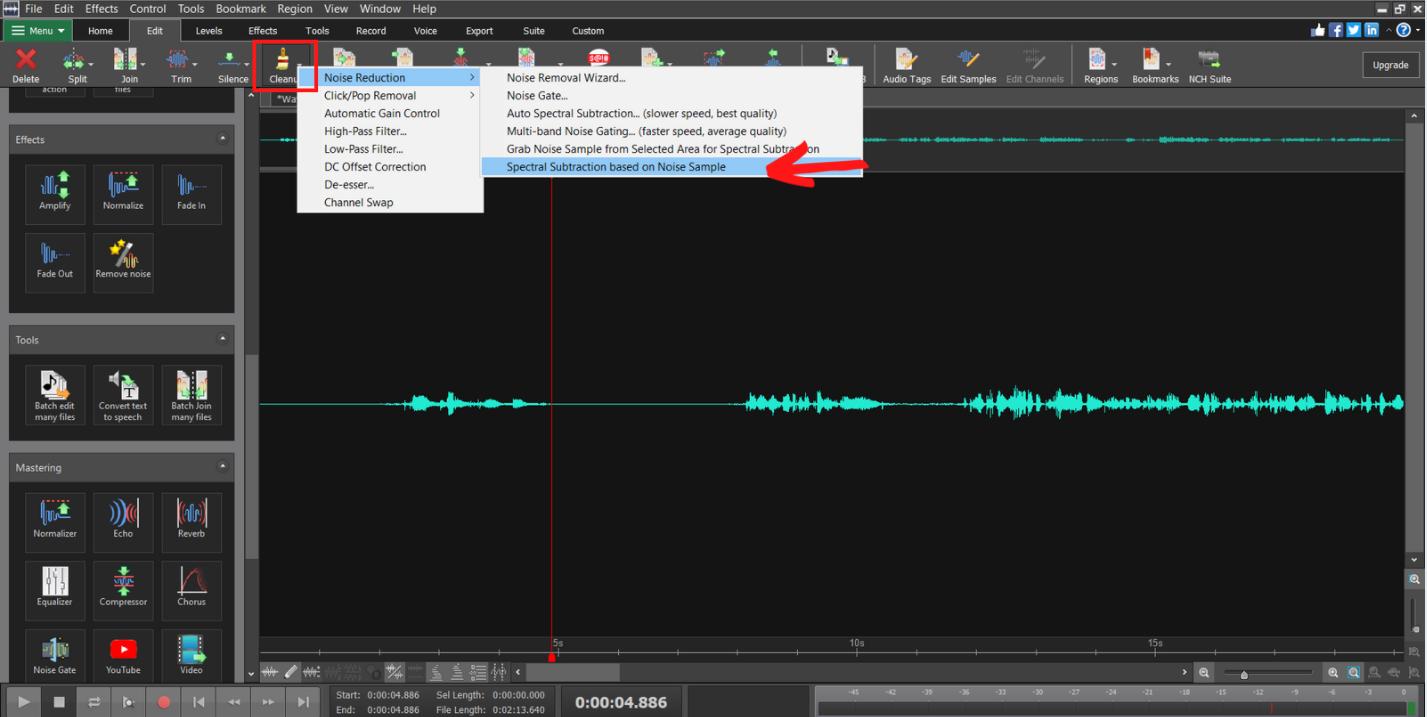 Make adjustments based on previous noise sample