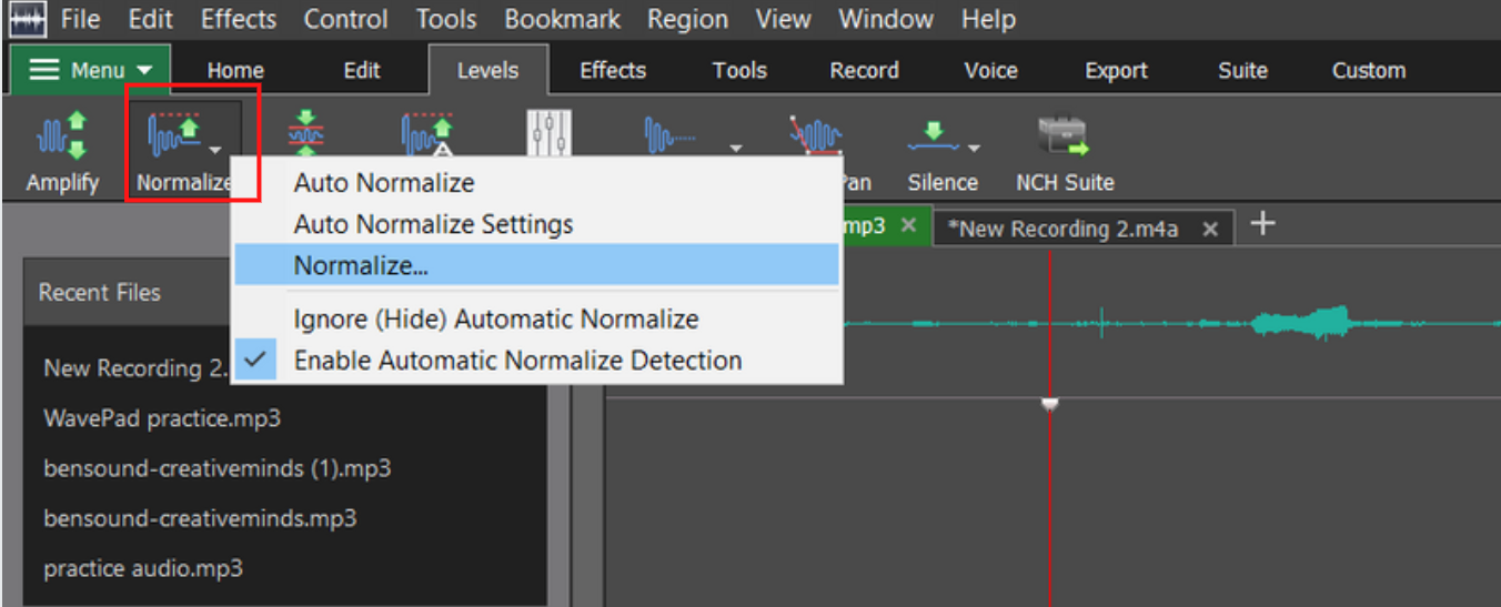 normalize options open from toolbar