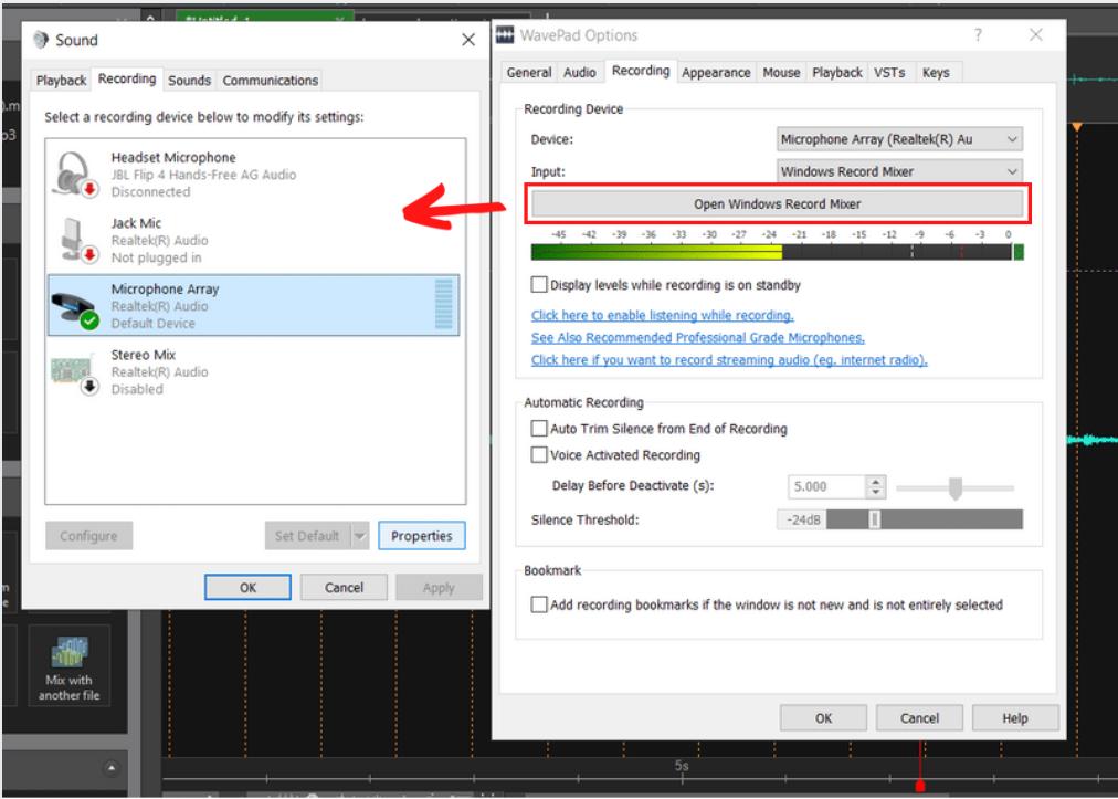 recording mixer options open