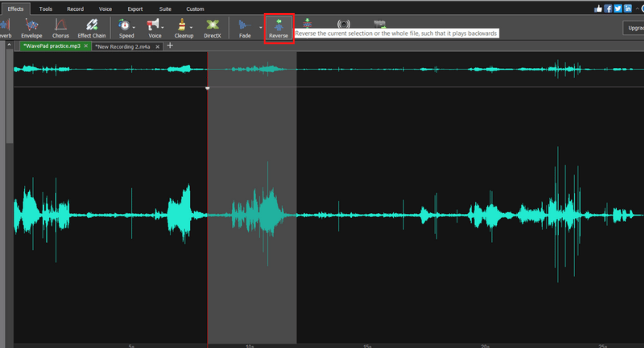 highlighted section of audio with reverse button in toolbar