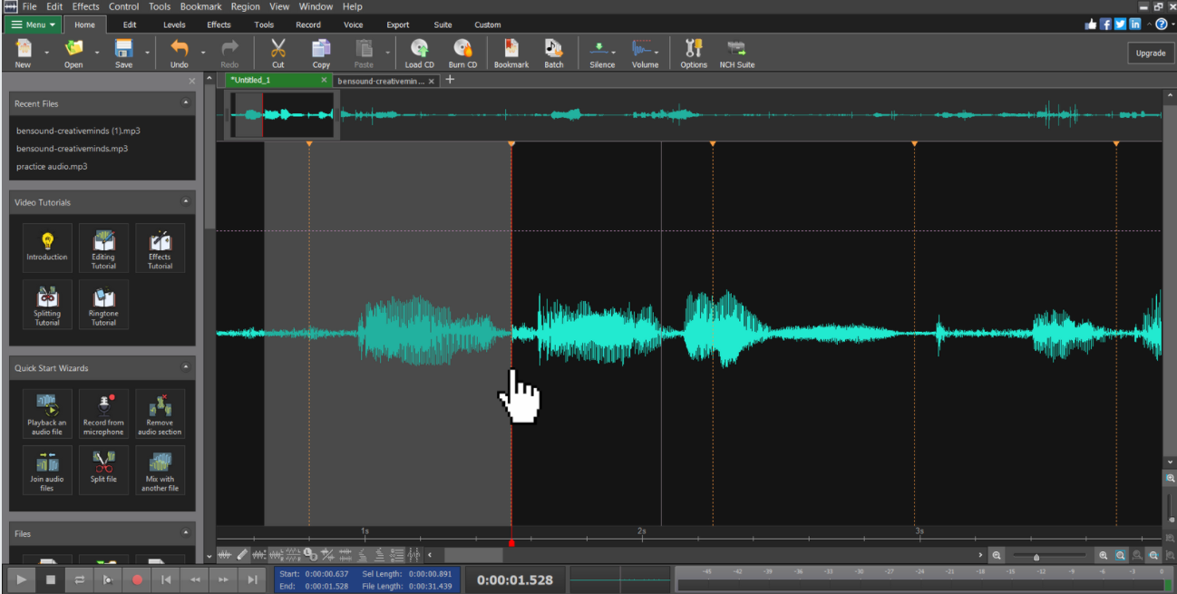 Portion of audio waveform selected