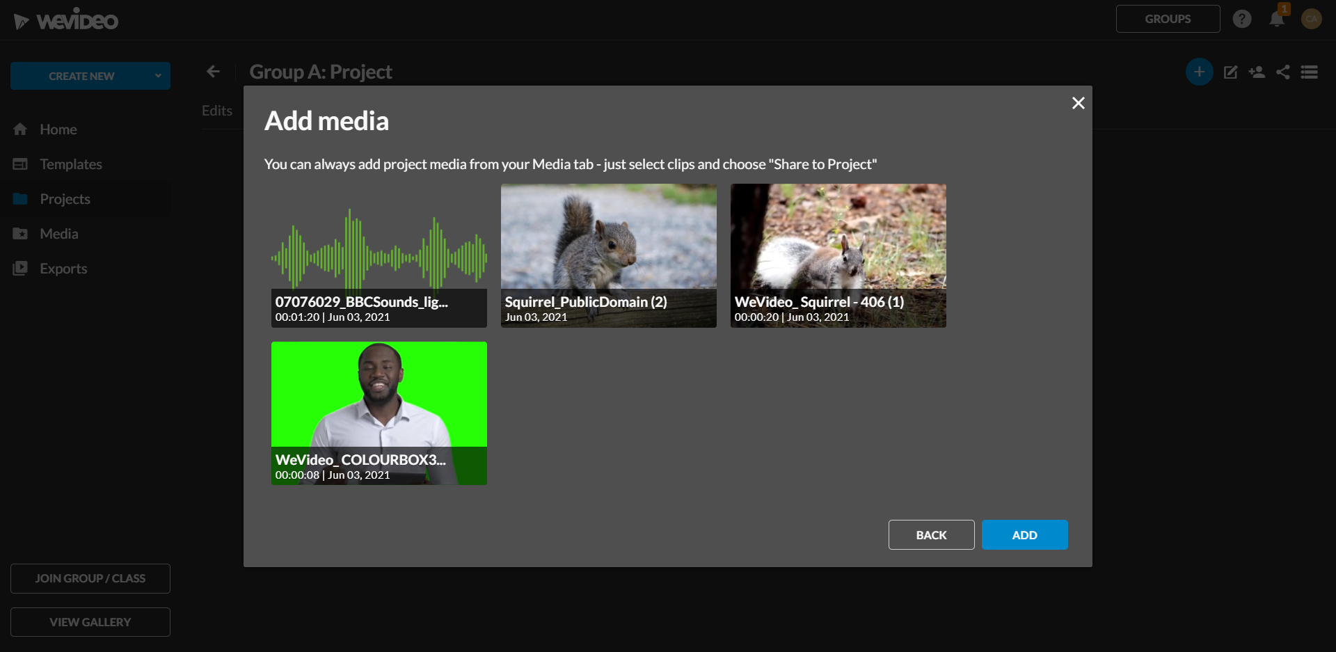 select media you want to add to your project