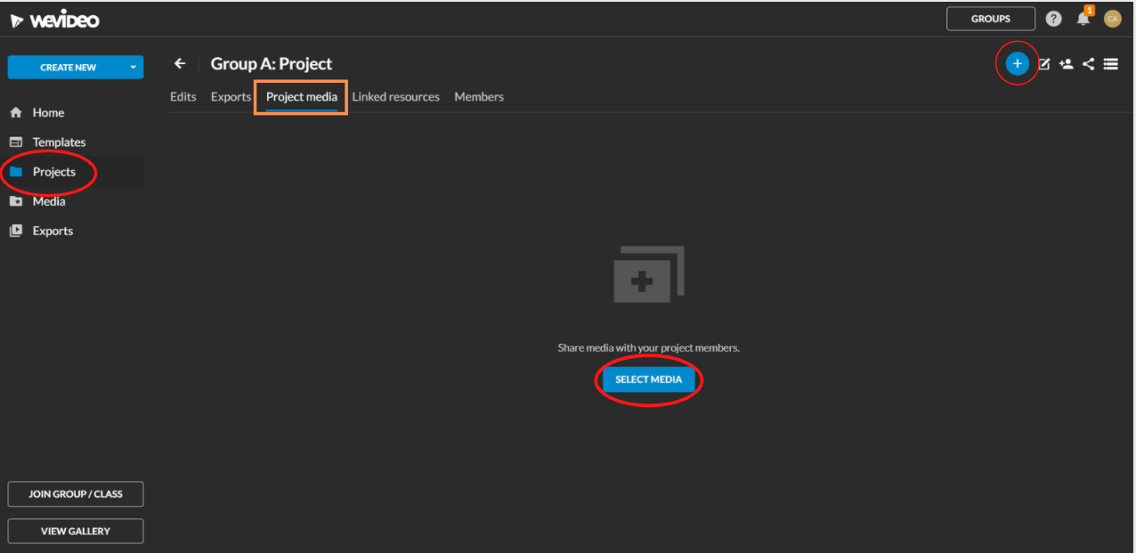 Project media page open with a circle around select media
