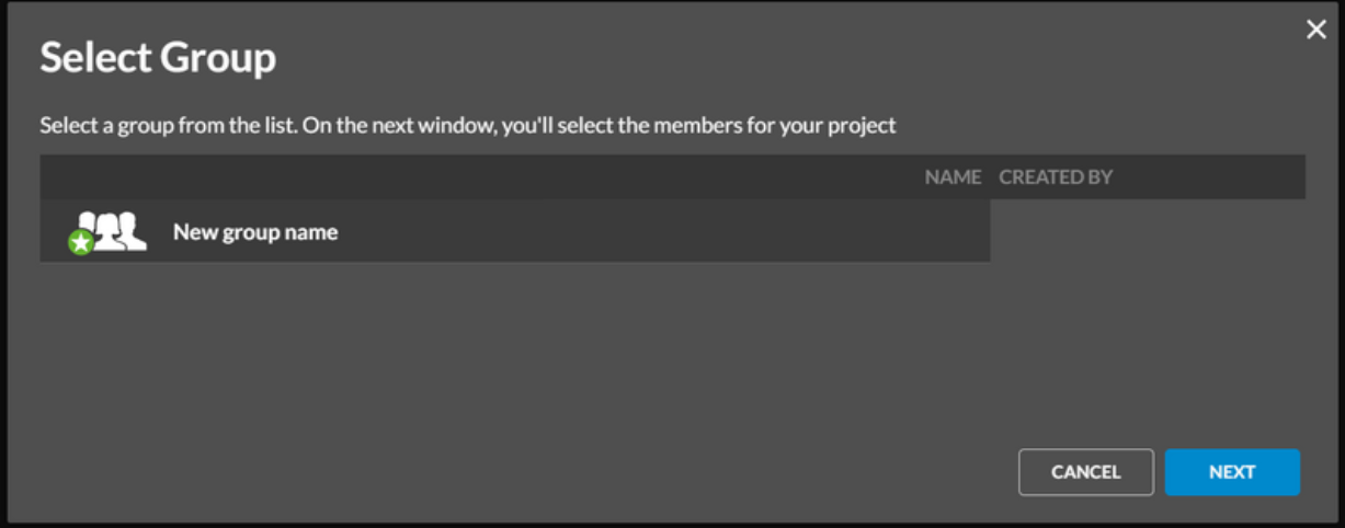 Select group to add to your project