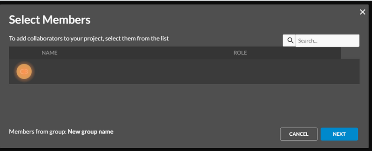 Select members to add to project