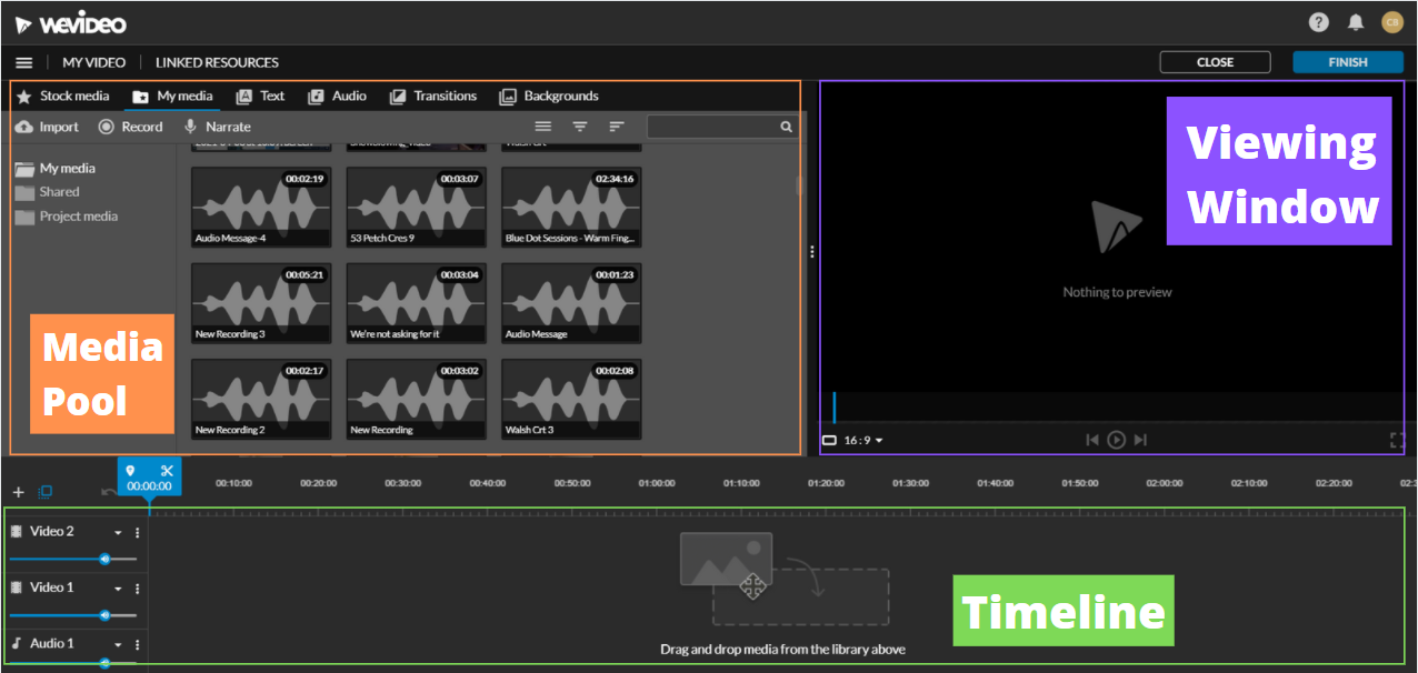 View of the WeVideo editing page