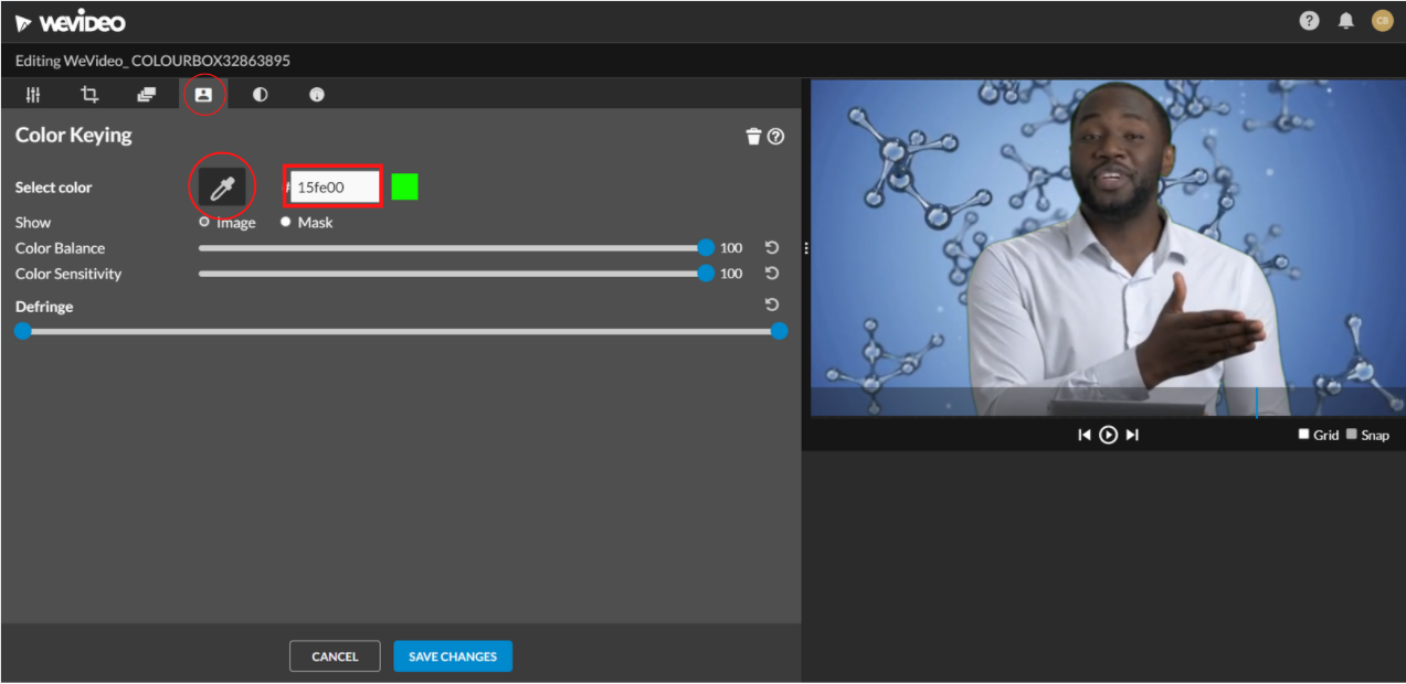colour keying mode in the clip editor
