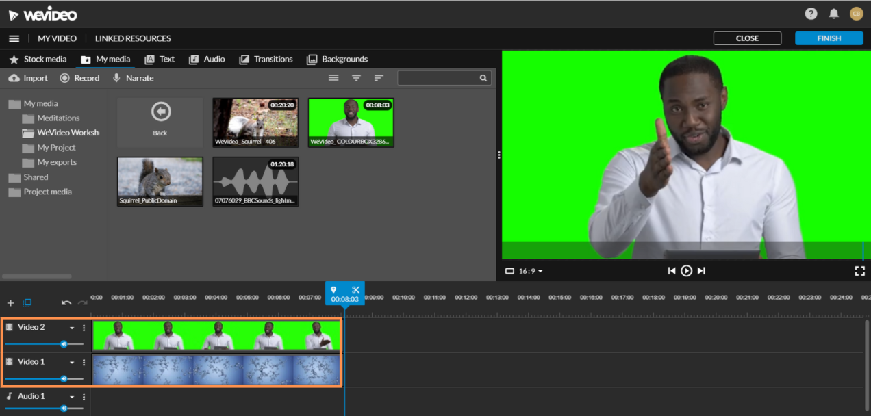 Green screen footage in video 2 background footage in video 1