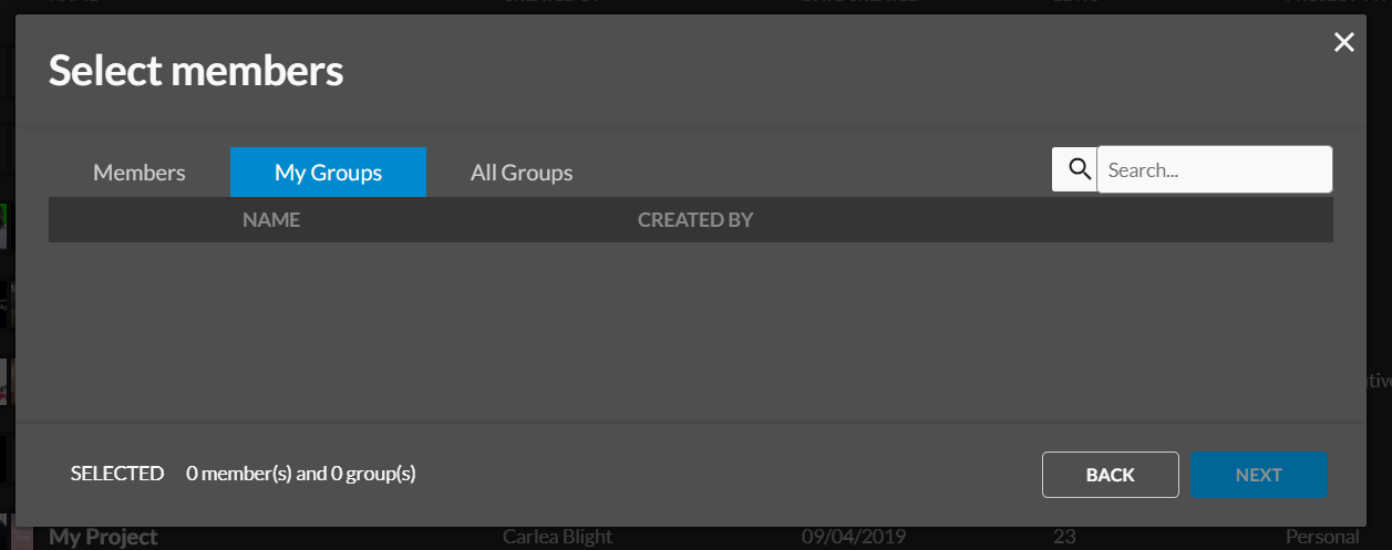Select members or groups to add