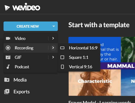 Select Recording from the Create New dropdown menu