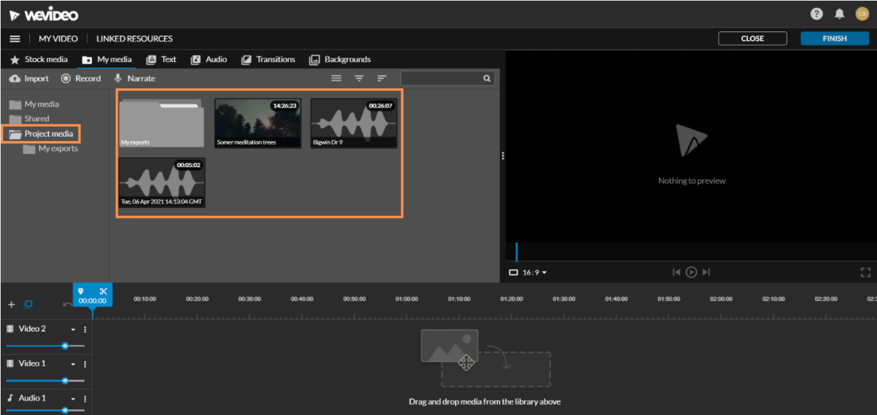 Project media in video editing mode
