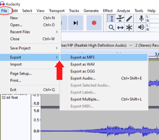 export your recording as an mp3