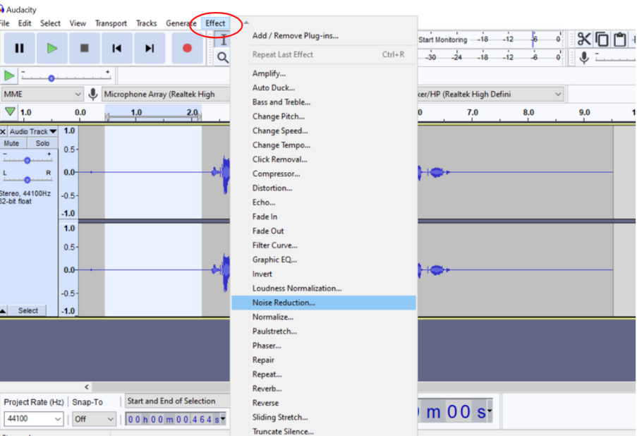 select effect then select noise reduction from the menu