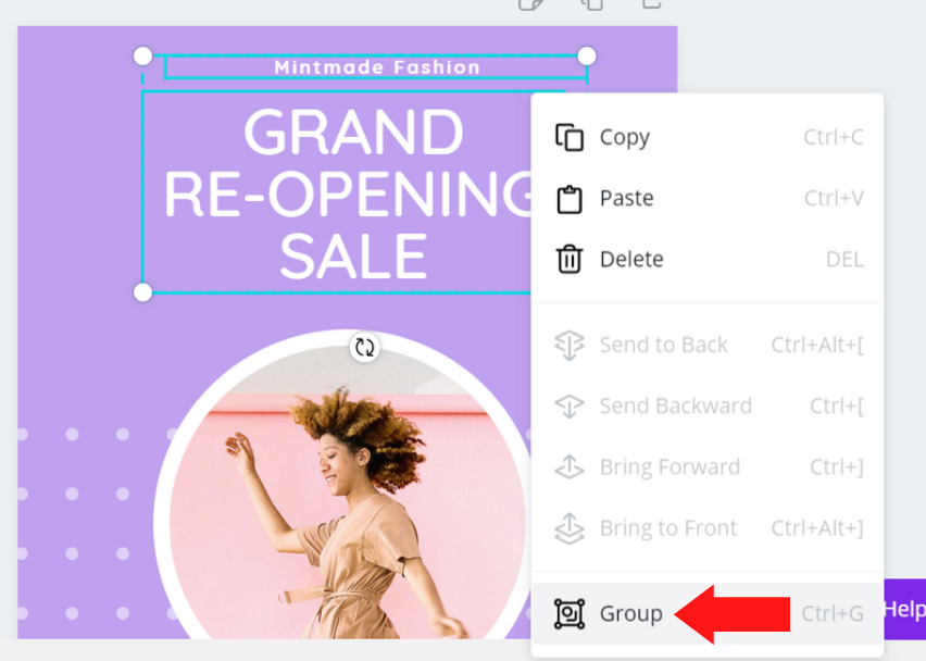 select group in pop up menu