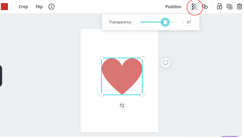 Use the transparency slider to adjust the opacity of an image